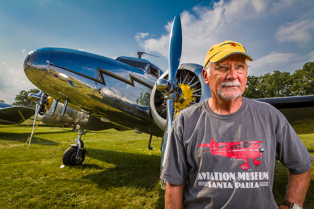 Joe Shepherd with his Lockheed 12A Electra Junior, which he flies often.  Created during AirVenture 2014.  Created by aviation photographer John Slemp of Aerographs Aviation Photography. Clients include Goodyear Aviation Tires, Phillips 66 Aviation Fuels, Smithsonian Air & Space magazine, and The Lindbergh Foundation.  Specialising in high end commercial aviation photography and the supply of aviation stock photography for commercial and marketing use.