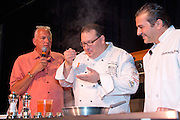 Chefs demonstrate the preparation of a wide variety of recipes at the Atlantic City Food and Wine Festival Grand Market. The Grand Market is a public trade show featuring culinary demonstrations by some of the nation's Top Chefs.  Guest can visit and sample the products from over one hundred food-related vendors from around the county. The Grand Market is held at Bally's Casino on the Boardwalk.