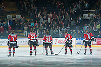 KELOWNA, CANADA - OCTOBER 11: Lucas Johansen #7, Justin Kirkland #23, Tyson Baillie #24, Jesse Lees #2 and Madison Bowey #4 of the Kelowna Rockets line up on the blue line against the Lethbridge Hurricanes on October 11, 2014 at Prospera Place in Kelowna, British Columbia, Canada.   (Photo by Marissa Baecker/Shoot the Breeze)  *** Local Caption *** Lucas Johansen; Justin Kirkland; Tyson Baillie; Jesse Lees; Madison Bowey;
