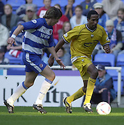Reading, England, Nationwide Division One Football Reading v Preston North End,Ricardo Fuller, attacks down the wing, with Reading's John Mackie tracking. at the Madejski Stadium, on  09/10/1999  [Credit  Peter Spurrier/Intersport Images]..