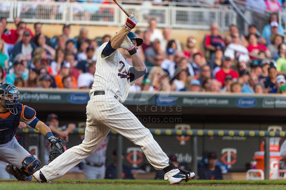 Justin Morneau #33 of the Minnesota Twins bats against the Detroit Tigers on June 15, 2013 at Target Field in Minneapolis, Minnesota.  The Twins defeated the Tigers 6 to 3.  Photo: Ben Krause