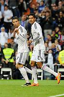 Real Madrid´s Cristiano Ronaldo and Raphael Varane celebrate a goal during 2014-15 La Liga match between Real Madrid and Almeria at Santiago Bernabeu stadium in Madrid, Spain. April 29, 2015. (ALTERPHOTOS/Luis Fernandez)