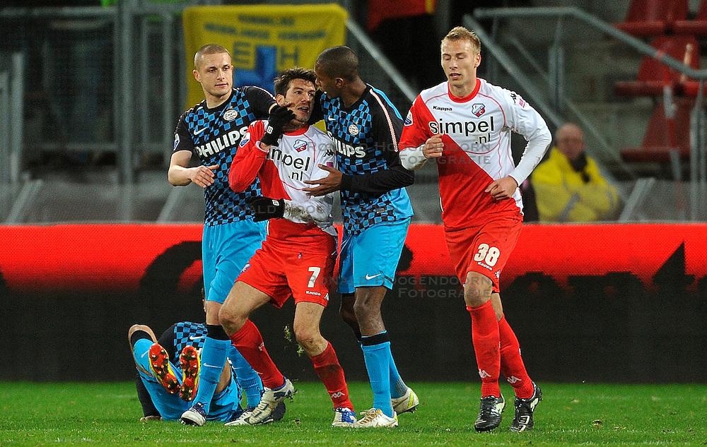 22-01-2012 VOETBAL: FC UTRECHT - PSV: UTRECHT<br /> Utrecht speelt gelijk tegen PSV 1-1 / Opstootje met Timothy Derijck, Edouard Duplan, Marcelo<br /> ©2012-FotoHoogendoorn.nl