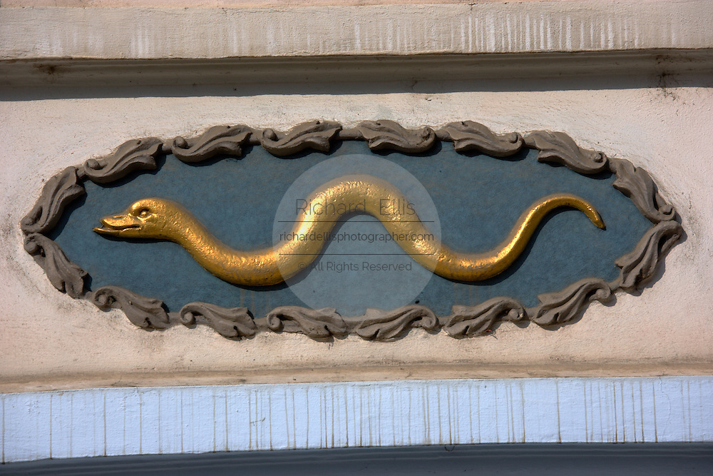 House of the Golden Snake on Nerudova street in Prague, Czech Republic. Owners used house signs before house numbers were introduced in Prague.