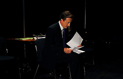 Leader of the Conservative Party David Cameron reads through his speech in the green room before going on stage to deliver  his speech to the   Conservative Party Conference at Manchester Central, Thursday October 8 , 2009. Photo By Andrew Parsons / i-Images.