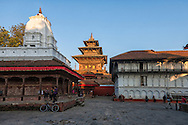 The 450 year old Taleju Temple rises behind some more modern buildings in Durbar Square.
