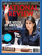 National Review - January 22, 2018. Cover photo of Ambassador Nikki Haley taken on September 11, 2017 at the United Nations Security Council meeting at the United Nations in New York City  where the Security Council voted on sanctions against North Korea. Shown here is the actual vote.