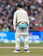 Marnus Labuschagne of Australia with his trousers down showing off his Budgy Smuggler during the International Test Match 2019, fourth test, day three match between England and Australia at Old Trafford, Manchester, England on 6 September 2019.