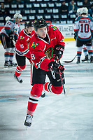 KELOWNA, CANADA - APRIL 8: Cody Glass #8 of the Portland Winterhawks warms up with a shot on net against the Kelowna Rockets on April 8, 2017 at Prospera Place in Kelowna, British Columbia, Canada.  (Photo by Marissa Baecker/Shoot the Breeze)  *** Local Caption ***