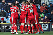 Nottingham Forest celebrate their third goal by midfielder Joe Lolley during the EFL Sky Bet Championship match between Queens Park Rangers and Nottingham Forest at the Loftus Road Stadium, London, England on 24 February 2018. Picture by Toyin Oshodi.