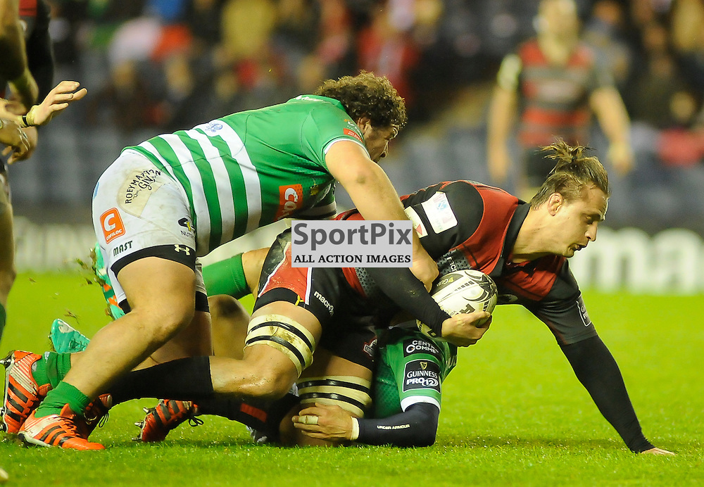Anton Bresler is tackled by Matteo Zanusso during the Edinburgh Rugby v Glasgow Warriors Guinness PRO12 & 1872 Cup game, ......(c) COLIN LUNN | SportPix.org.uk