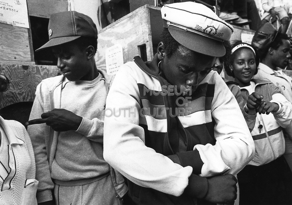 Black Teenagers, dancing at a sound system, Notting Hill Carvival, London, UK 1983