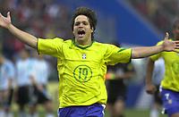25/07/04 - LIMA - PERU -  COPA AMERICA PERU 2004 -  BRASIL - BRAZIL (5) win by penalty  over ARGENTINA (3) - BRAZIL CHAMPION CELEBRATION.<br />Brazilian Player N*19 DIEGO celebrating the victory.<br />© Str./Argenpress.com