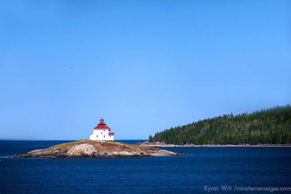 North America, Canada, Nova Scotia, Queensport. The Queensport Lighthouse on Rook's Island in Chedabucto Bay.