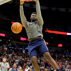 Oct 5, 2019; New Orleans, LA, USA; New Orleans Pelicans forward Zion Williamson (1) dunks during a open practice at the Smoothie King Center. Mandatory Credit: Derick E. Hingle-USA TODAY Sports