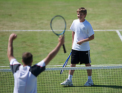 LIVERPOOL, ENGLAND - Sunday, June 19, 2011: A ball boys in action during day four of the Liverpool International Tennis Tournament at Calderstones Park. (Pic by David Rawcliffe/Propaganda)