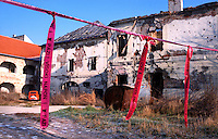 Bombed building and land mines, during the Sarajevo war 1992-1995