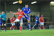 Matt Lund, David Fox during the Sky Bet League 1 match between Rochdale and Crewe Alexandra at Spotland, Rochdale, England on 16 February 2016. Photo by Daniel Youngs.
