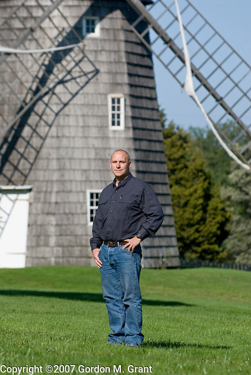 East Hampton, NY - 9/28/07 - Ralph Dayton in front of the Hook Mill in East Hampton, NY September 28, 2007. Dayton's family has lived in East Hampton since 1656  (Photo by Gordon M. Grant)