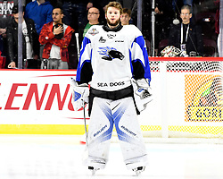 Callum Booth of the Saint John Sea Dogs in the opening game of the 2017 MasterCard Memorial Cup against the Windsor Spitfires at the WFCU Centre in Windsor, ON on Friday May 19, 2017. Photo by Aaron Bell/CHL Images