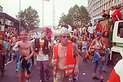 Ravers protesting on the streets at the 2nd Criminal Justice March, Victoria, London, UK, 23rd of July 1994.