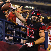 22 September 2018: San Diego State Aztecs tight end Parker Houston (82) catches a 25 yard touchdown pass in the second quarter to give the Aztecs a 10-3 lead. The San Diego State Aztecs beat the Eastern Michigan Eagles 23-20 in over time at SDCCU Stadium in San Diego, California.