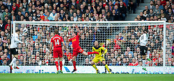 12.05.2013, Craven Cottage, London, ENG, Premier League, FC Fulham vs FC Liverpool, 37. Runde, im Bild Liverpool's goalkeeper Jose Reina is beaten as Fulham's Dimitar Berbatov scores the first goal against during during the English Premier League 37th round match between Fulham FC and Liverpool FC at the Craven Cottage, London, Great Britain on 2013/05/12. EXPA Pictures © 2013, PhotoCredit: EXPA/ Propagandaphoto/ David Rawcliffe..***** ATTENTION - OUT OF ENG, GBR, UK *****