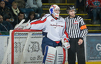KELOWNA, CANADA, DECEMBER 7: Damien Ketlo #31 of the Lethbridge Hurricanes converses with a referee at the Kelowna Rockets on December 7, 2011 at Prospera Place in Kelowna, British Columbia, Canada (Photo by Marissa Baecker/Getty Images) *** Local Caption ***
