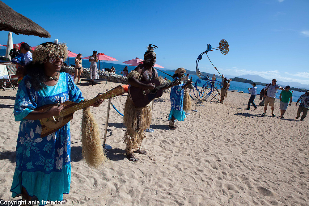 """New Caledonia, Noumea, Traditional Kanak Dance and music """"We Ce Ca"""", during the environmental conference Oceania 21"""