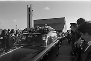 Funeral Of Eamon Andrews.   (R67)..1987..10.11.1987..11.10.1987..10th November 1987..Today saw the funeral of the broadcaster,Eamon Andrews. The funeral mass was held in St Anne's Church, Portmarnock, Co Dublin with the removal to Balgriffin Cemetery, Co Dublin...Photograph shows the cortege leaving St Anne's Church to make its way to Balgriffin Cemetery.