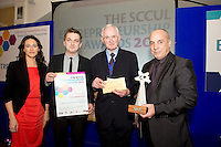 "In the SCCUL Entrepreneurship AWARDS 2012  Category Award ""Emerging Business""  announced by Catherina Blewitt Ireland West Regional Business & Relationship Manager, IDA Ireland and presented by Jim Naughton.Chairman SCCUL Enterprises Ltd to winner Marcin Chaszczewski and Patrick Creaven of Printed Blinds Factory .PIcture:Andrew Downes"