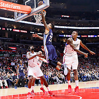 09 November 2015: Memphis Grizzlies forward Matt Barnes (22) goes for the layup past Los Angeles Clippers guard Jamal Crawford (11) during the Los Angeles Clippers 94-92 victory over the Memphis Grizzlies, at the Staples Center, in Los Angeles, California, USA.