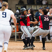 12 May 2018: San Diego State outfielder Zaria Meschack (2) is congratulated by teammates Janina Jusay (8) and Kelsey Munoz (26) after hitting a walk off single to win the game. San Diego State women's softball closed out the season against Utah State with a 3-2 win on seniors day and sweep the series. <br /> More game action at sdsuaztecphotos.com