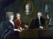 The Mozart Family (1780-1781).  Leopold (1719-1787) with his daughter Maria-Anna, Nannerl (1851-1829), and son Wolfgang Amadaeus (1756-1791) at the keyboard. Portrait of Leopold's late wife Anna Maria (1720-1779), centre.  Johann Nepomuk Della Croce (1736-1819). Mozart Museum, Salzburg.