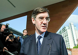 (c) Licensed to London News Pictures. <br /> 03/10/2017<br /> Manchester, UK<br /> <br /> Jacob Rees-Mogg MP speaks to members of the media at the Conservative Party Conference held at the Manchester Central Convention Complex.<br /> <br /> Photo Credit: Ian Forsyth/LNP