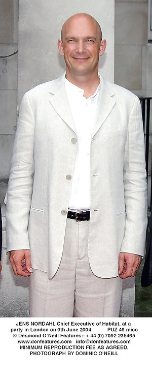 LJENS NORDAHL Chief Executive of Habitat, at a party in London on 9th June 2004.PUZ 46 mico