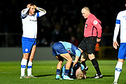 Tranmere Rovers defender 9on loan from West Bromwich Albion) Kane Wilson (22) shown a red card, sent off during the The FA Cup match between Wycombe Wanderers and Tranmere Rovers at Adams Park, High Wycombe, England on 20 November 2019.