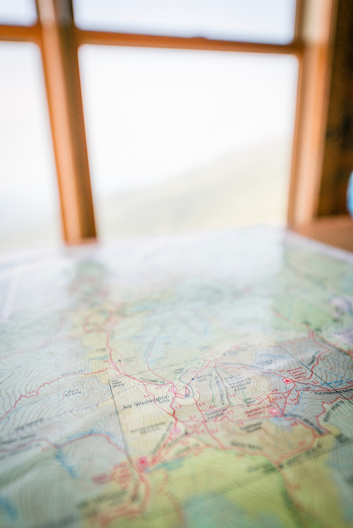 Map of Mount Washington at the Lake of the Clouds Hut, NH