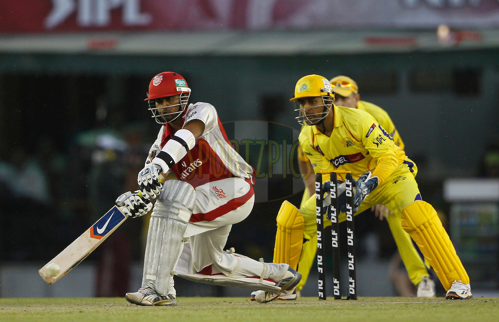 Kings XI Punjab Paul Valthaty plays a shot during match 9 of the Indian Premier League ( IPL ) Season 4 between the Kings XI Punjab and the Chennai Super Kings held at the PCA stadium in Mohali, Chandigarh, India on the 13th April 2011..Photo by Pankaj Nangia/BCCI/SPORTZPICS