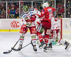 17.03.2019, Stadthalle, Klagenfurt, AUT, EBEL, EC KAC vs HCB Suedtirol Alperia, Viertelfinale, 3. Spiel, im Bild Marco INSAM (HCB Suedtirol Alperia, #8), Andrew KOZEK (EC KAC, #10), Jacob SMITH (HCB Suedtirol Alperia, #1) // during the Erste Bank Icehockey 3rd quarterfinal match between EC KAC and HCB Suedtirol Alperia at the Stadthalle in Klagenfurt, Austria on 2019/03/17. EXPA Pictures © 2019, PhotoCredit: EXPA/ Gert Steinthaler