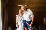 92 year old Tennis player, Henry Young and his wife Madge just before Henry's first match at the National Seniors Tennis Tournament. Shepparton, 17th January 2016 <br />