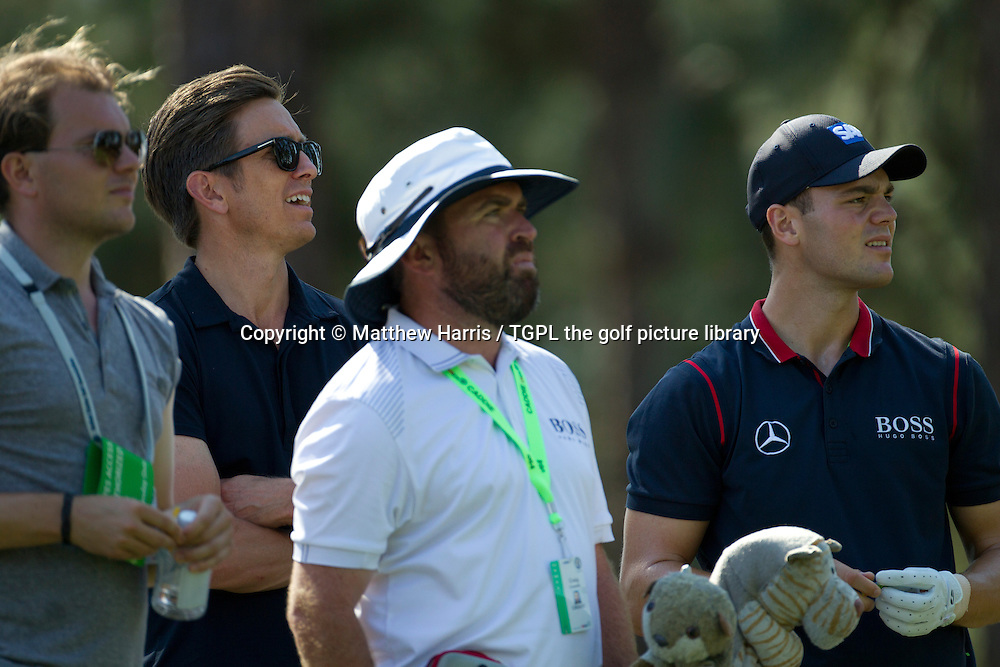 Martin KAYMER (GER) and team,right to left caddie Craig Connerly,manager Johan Elliott and his brother Phillip during Wednesday practice US Open Championship 2014,Pinehurst No 2,Pinehurst,North Carolina,USA.