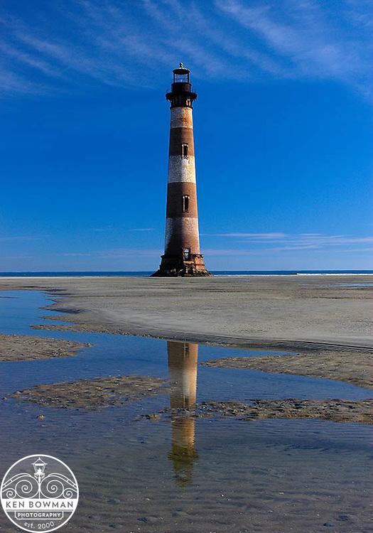 Morris Island Lighthouse reflection on sandbar