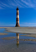 Morris Island Lighthouse reflection on sandbar