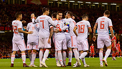 CARDIFF, WALES - Thursday, October 11, 2018: Spain's Paco Alcácer (#9) celebrates scoring the first goal during the International Friendly match between Wales and Spain at the Principality Stadium. (Pic by Lewis Mitchell/Propaganda)