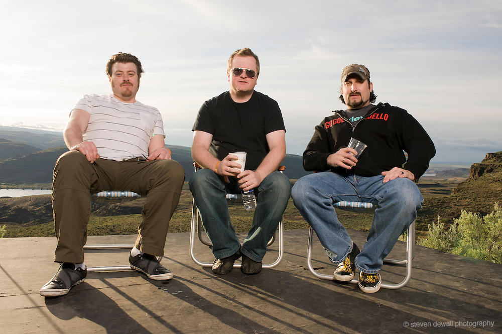 George, WA. - May 28th, 2011 Trailer Park Boys pose for a portrait backstage at the Sasquatch Music Festival in George, WA. United States