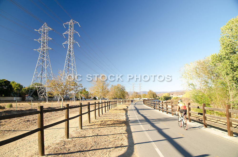 Bike Rider on Trail on a Sunny Afternoon in Canyon Country