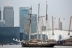 © Licensed to London News Pictures. 07/09/2014. Gulden Leeuw heading towards the O2 and Canary Wharf. The biggest tall ships event in London for 25 years is continuing across this weekend. Visitors took the opportunity to sail in tall ships up and down the Thames and go onboard those moored at Greenwich and Woolwich. The Royal Greenwich Tall Ships Festival concludes on Tuesday when all 50 vessels will sail down river together. Credit : Rob Powell/LNP