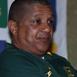 Allister Coetzee (Head Coach) of South Africa during Team announcement media conference with Springbok coach, Allister Coetzee, and Mixed zone media interviews at the team hotel (Umfolozi Room 2) Durban,South Africa. 15th June 2017(Photo by Steve Haag)