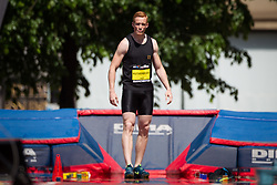 © Licensed to London News Pictures . 17/05/2014 . Manchester , UK . GREG RUTHERFORD preparing for the long jump , viewed through the haze of the heat . The Great City Games in Manchester , with athletics on a track along Deansgate and Pole Vault and Long Jump in Albert Square . Photo credit : Joel Goodman/LNP